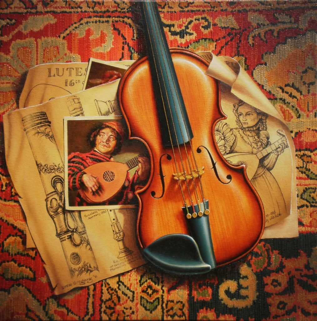 'Lutes, Flutes and Violins' Oil on canvas 46 x 46cms 2011