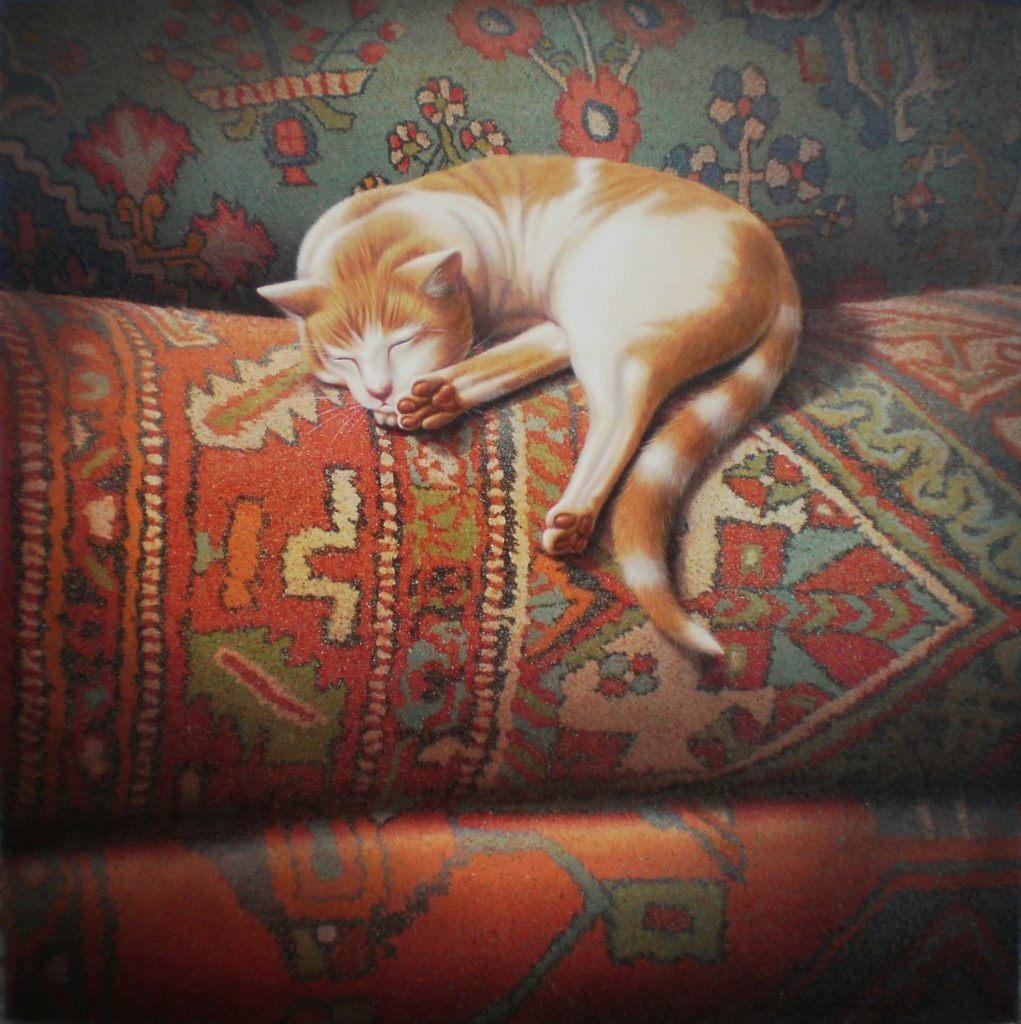'Carpet cat 3' Oil on canvas 76 x 76 cms 2011