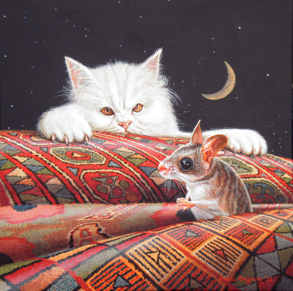'Cat and Mouse' oil on Canvas 30x30cms 2012
