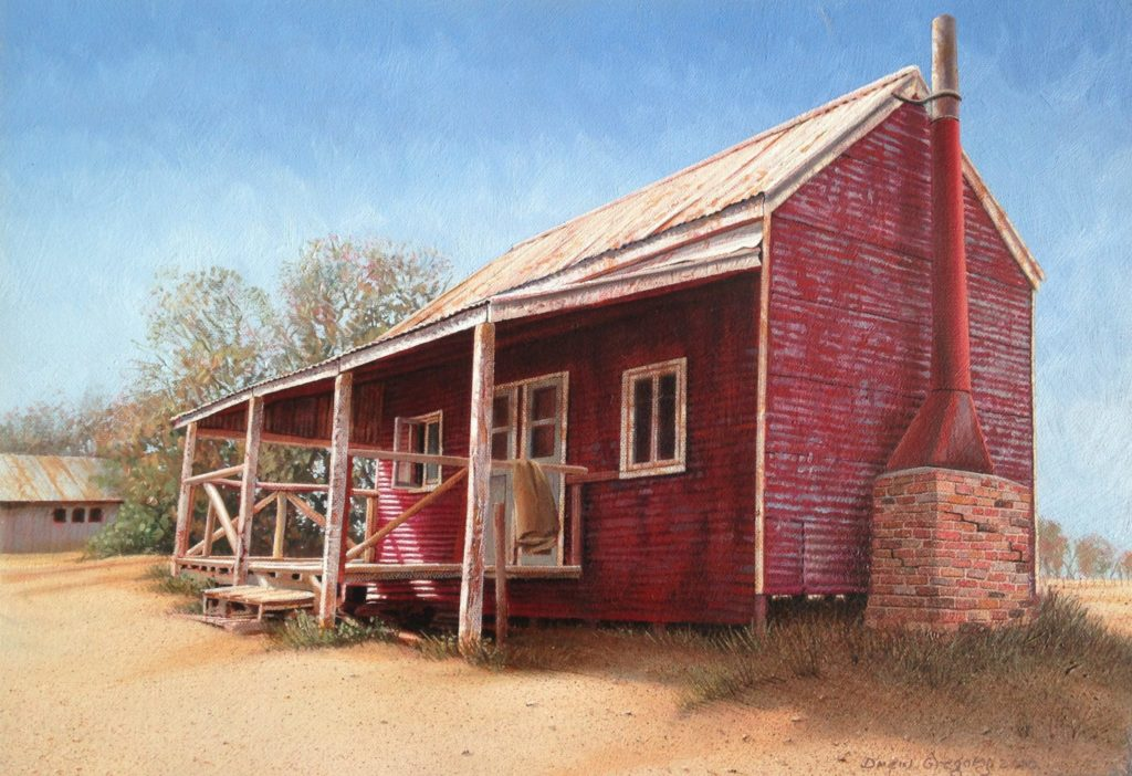 'The Woolclasser's Hut, Ned's Corner.' Oil on canvas 36 x 52 cms. -2004