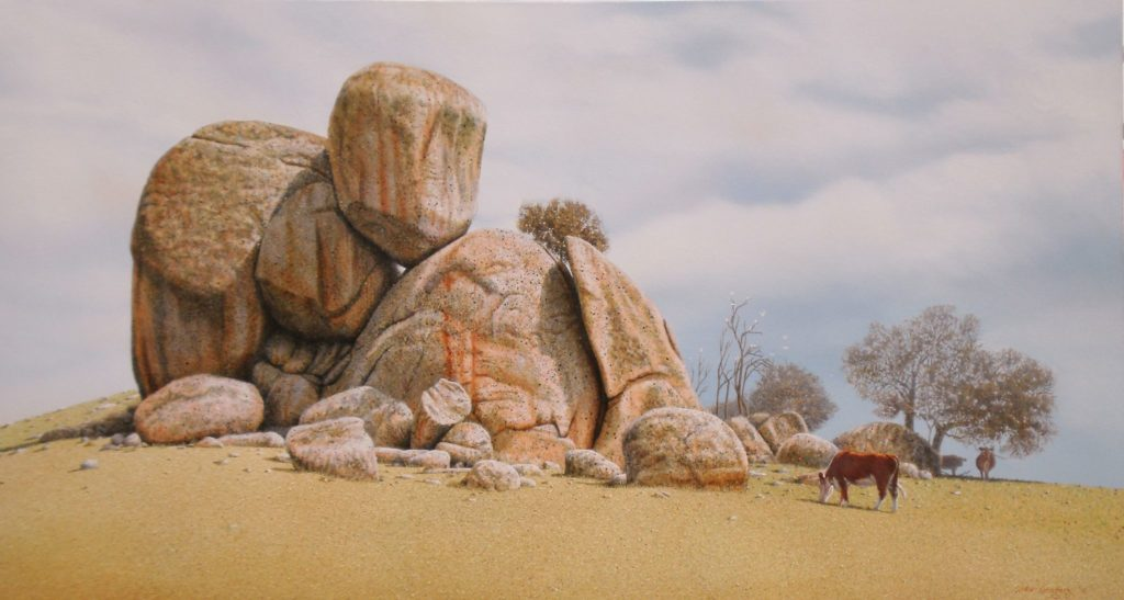 'Rocky Outcrop Pyalong.' Oil on canvas. 73 x 132 cms. - 2010