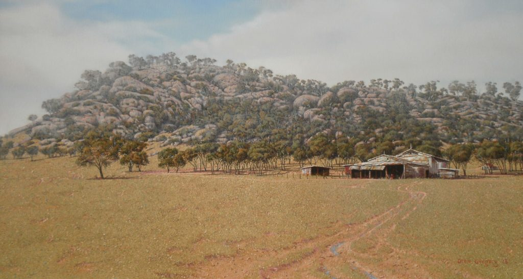 Farm Buildings, Lachlan Shire, NSW. OIl on Canvas, 55x102cms. - 2013