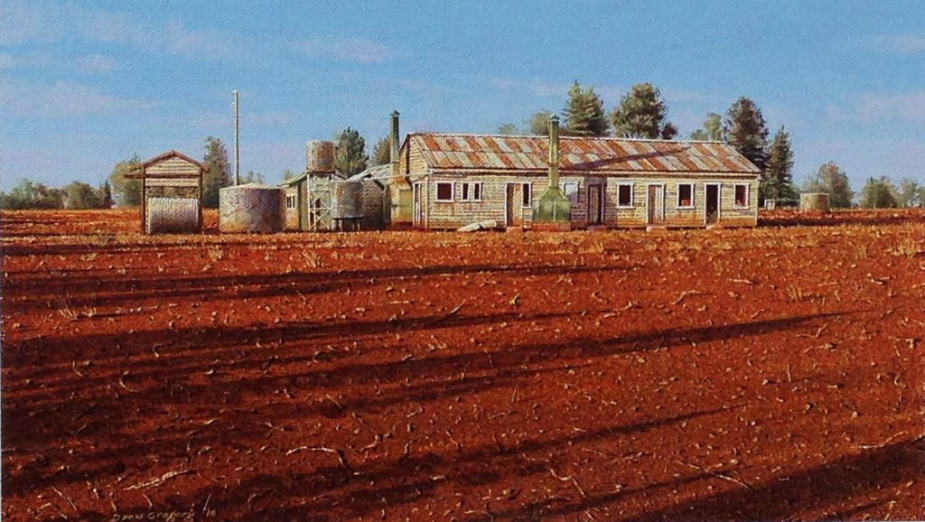 'Early Morning, Shearers' Quarters, Kulwin, NSW.' Oil on Caravaggio linen. 27 x 47 cms. - 2016
