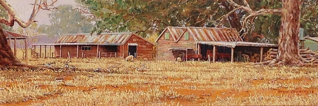 Farm Sheds, Yarck, Victoria. Oil on Caravaggio linen. 13 x 39 cms. - 2016