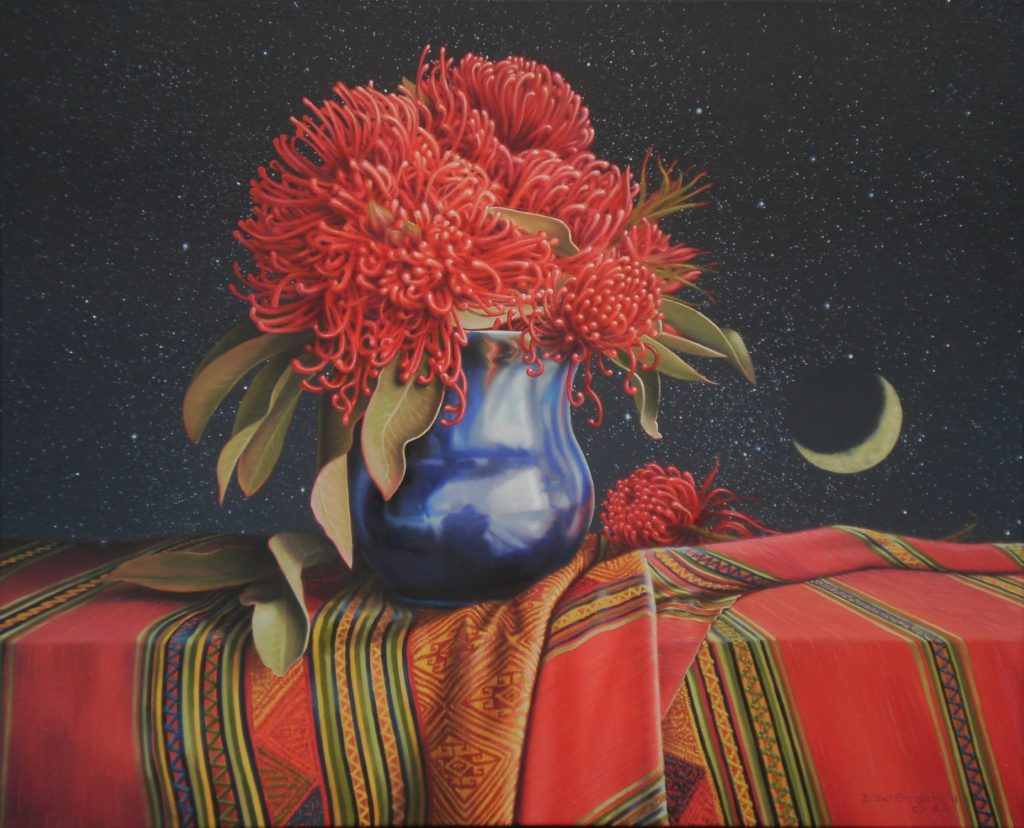'Moonrise'. (Waratah Flowers) Oil on canvas 56x69 cms 2011